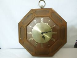 Vintage Elgin Quartz Wall Clock Octagon Wood & Brass Mid-Centuty Modern Original