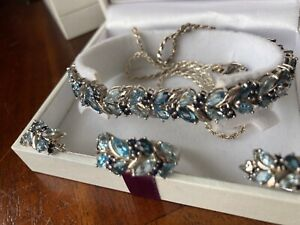 Bracelet, ring, earrings and Pendant silver with genuine Gem Stones