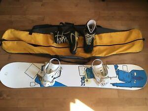 Men's Snowboard, binding, boots, bag