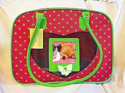 Small Dog Cat Soft Carrier Pink Green Polka Dots Air Friendly NEW Puppy Kitten