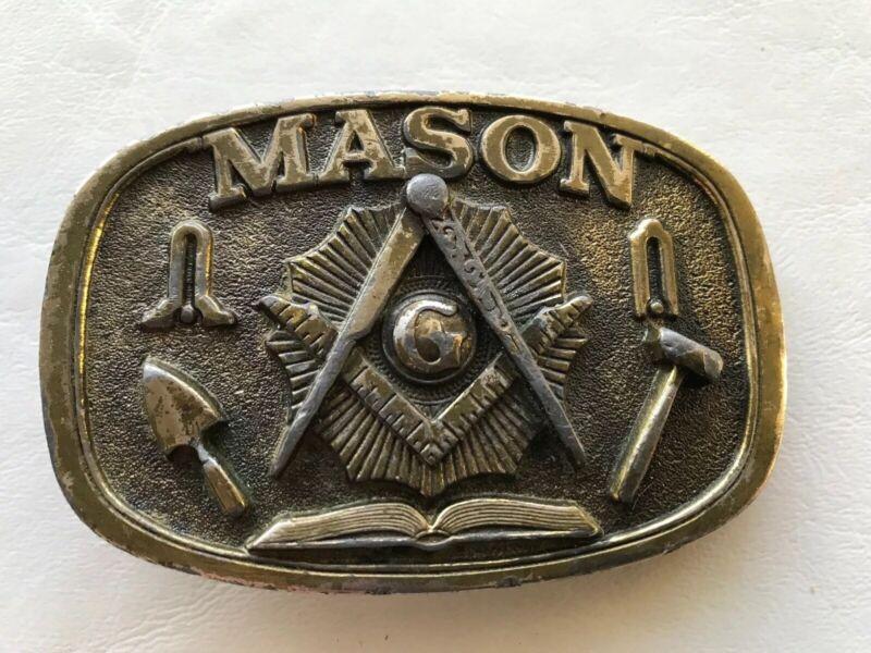 Vintage 1986 Masonic Mason Brass Belt Buckle 1802 Great American Made in USA