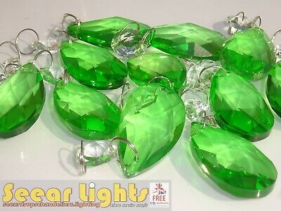 EMERALD GREEN CHANDELIER OVAL CUT GLASS CRYSTALS 10 DROPS PRISMS DROPLETS BEADS