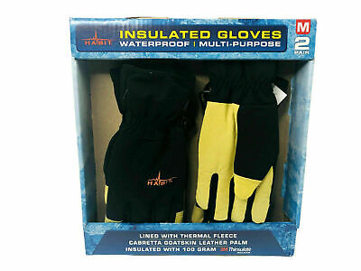 2-pack Habit Insulated Waterproof Gloves Goat Leather Fleece Size Medium