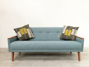 Vintage Model 55 Danish Mid Century 50s 3 Seat Tail Sofa Settee In Jade