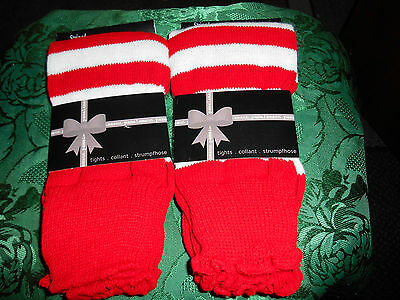LEG WARMERS BY PAMELA MAN RED AND WHITE STRIPES YOUR GET 2 PAIRS 1 SIZE - Red And White Striped Leg Warmers