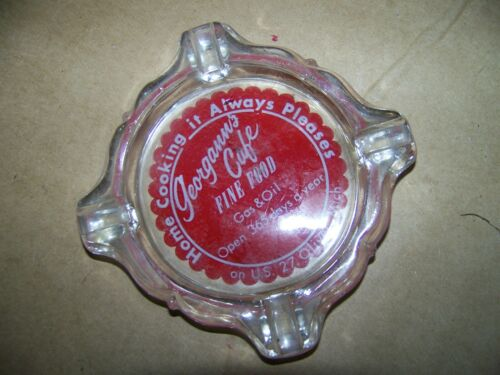 gas & oil georganns fine food CAFE GLASS ASH TRAY oiivet michigan old vintage