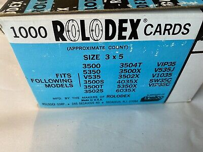 100 White Rolodex Brand 3 X 5 Inch Refill Cards 100 Sealed Vintage C-35