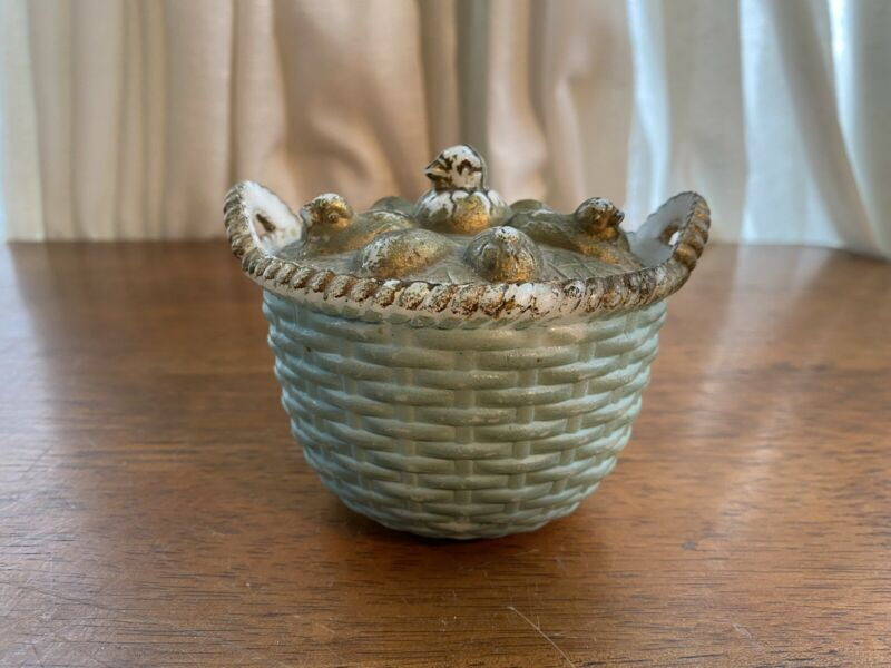 Westmoreland Emerging Chick And Eggs w/ Painted Blue Handled Basket