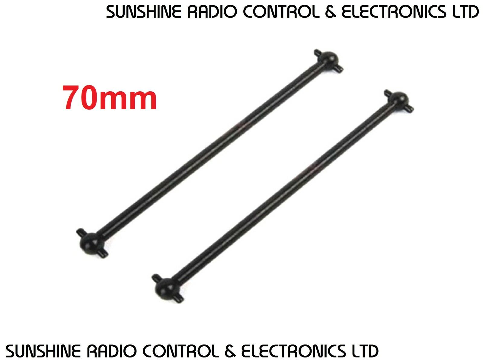rc drive shafts x2 70mm long dog bone shaft 63mm pin to pin 6mm ball diameter uk