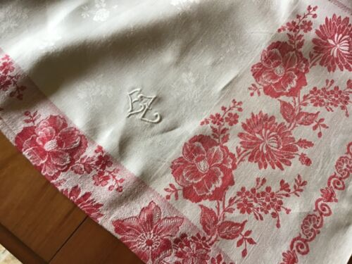 "Antique German Damask Linen tablecloth/white & turkey red/EZ Monogram 49""x68"""