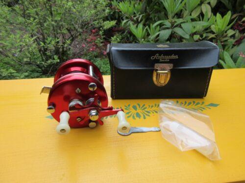 Vintage Abu Garcia Ambassadeur Sweden Red 5000 Fishing Reel with Leather Case