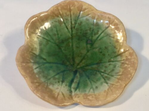 Antique Butter Pat American Majolica Leaf Form  Griffen, Smith & Hill