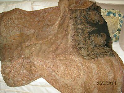 Details about  /Vintage Indian Art Silk Brown Saree Paisley Printed Craft Fabric-hgE