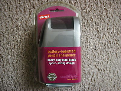 New Staples Slimline Battery Operated Pencil Sharpener Sealed Retail Package