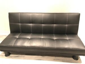 Faux leather futon