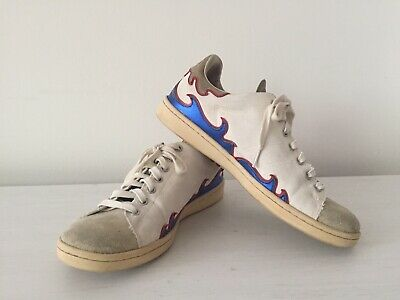 40 Isabel Marant Etoile Gilly Flame Trainers White Canvas Red Blue Leather U.K.7