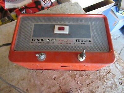 Vintage Untested Electric Fencer Fence-rite Fr-60 Lot 21-53-0