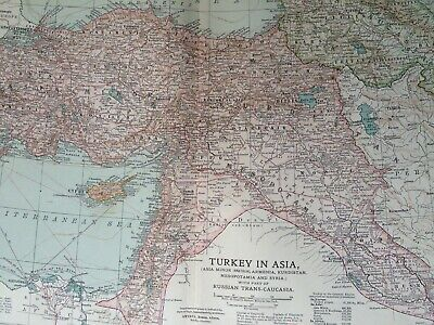 1903 Turkey in Asia Original Antique Map Anatolia Armenia Kurdistan Iraq Syria