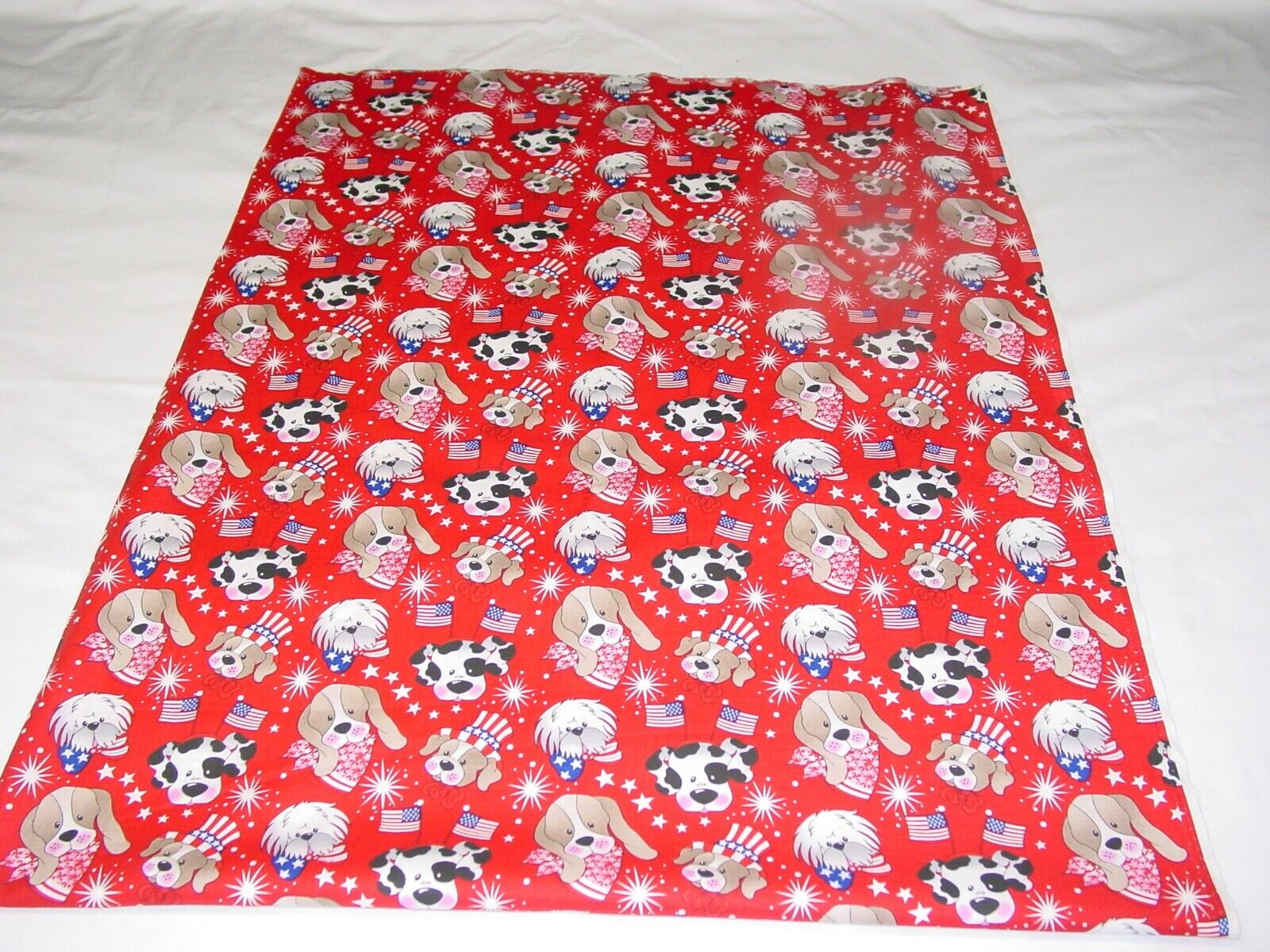 PATRIOTIC PUPS IN RED FABRIC REMNANT LENGTH 30 X WIDTH 43  - $10.50