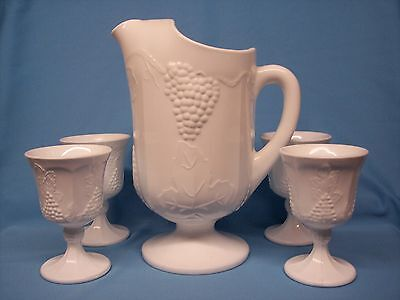 INDIANA GLASS MILK GLASS GRAPE AND LEAF DESIGN PITCHER AND GOBLETS SET