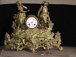 Antique French  Bronze Figural mantel Clock ca 1860