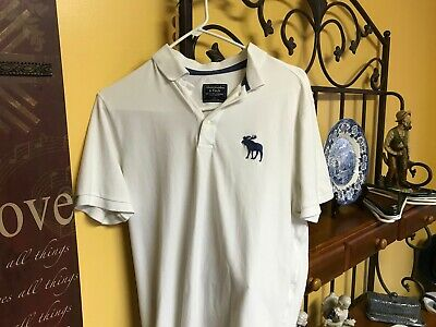 Abercrombie & Fitch polo s/s shirt size L, M white (large logo)