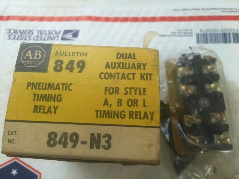 Allen-Bradley 849-N3 Pneumatic Timing Relay Dual Auxilary Kit New