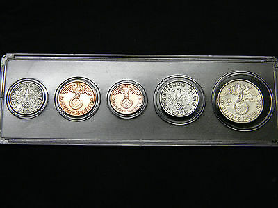 WWII Nazi Germany Third Reich Coins Set Swastika Silver Eagle with Display Case