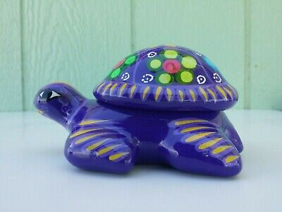 TURTLE HAND PAINTED CLAY JEWELRY BOX