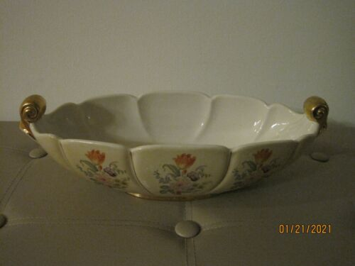 Vintage Abingdon Large Oval Console Bowl #532/ Hand Painted, Gold Gilded