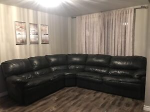 Genuine leather sectional coach