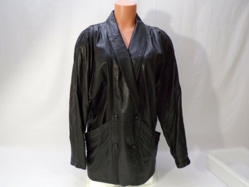 Vintage Leather Jacket Women Medium Black Lined Double Breast Specialist Leather