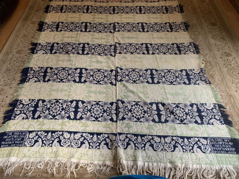 Antique Dated 1838 Woven Coverlet J Hartman Richland Co Ohio