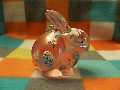 Fenton Art Glass Pink Iridescent Daisy Bunny Rabbit Figurine Painted *Signed*