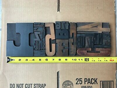 Letterpress Print Type Wood Letter And Number Group - 35 Pieces