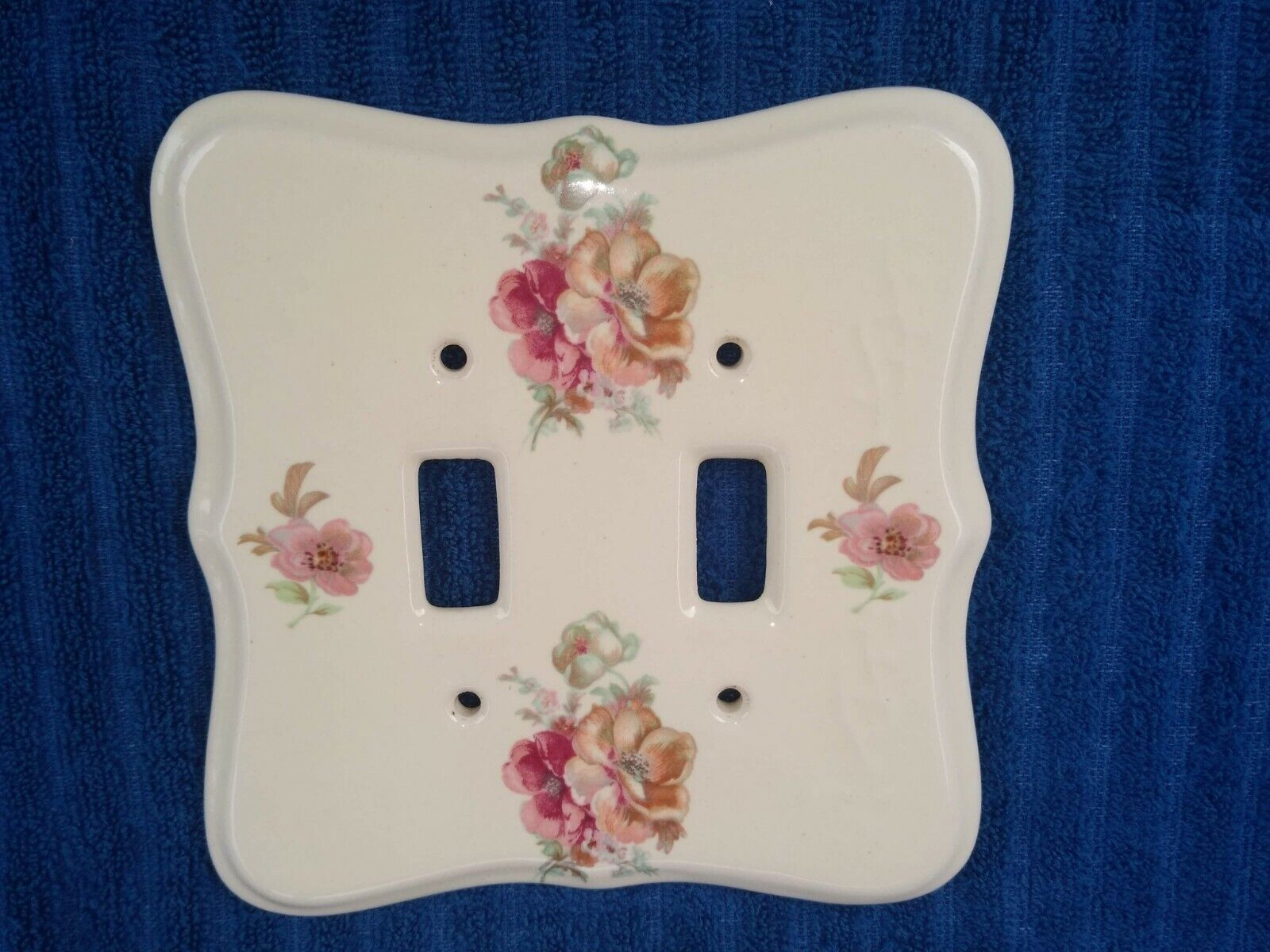 Vintage Double Ceramic Painted Flowers V B Athena USA Wall Switch Plate Cover - $9.89