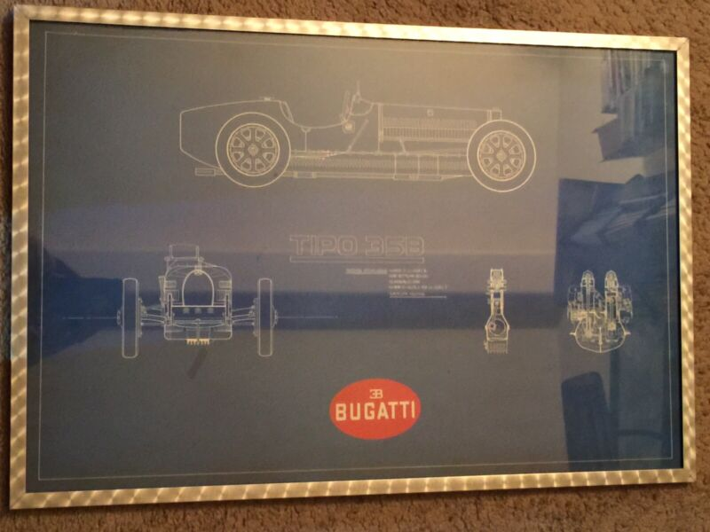 BUGATTI TIPO 35B FRAMED PICTURE (24x16) VINTAGE GREAT CONDITION