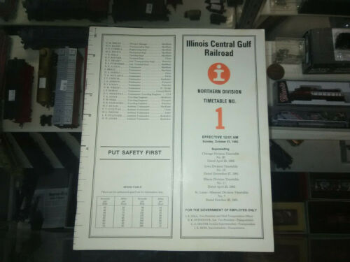 ILLINOIS CENTRAL GULF NORTHERN DIVISION TIMETABLES(1)EMPLOYEES ONLY ICGRR