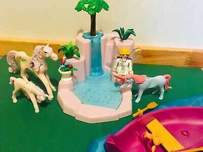 Playmobil waterfall island, plus horses and royal boat