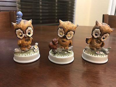 Vintage Napcoware Miniature 3 Owl figurine LOT NAPCO Blue Bird figurines