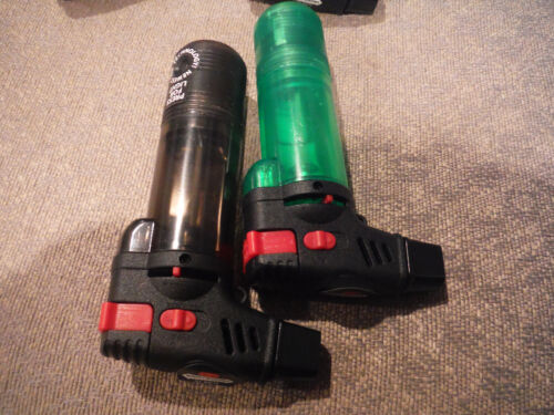 NEW Lot of 2 MonsterSmoking Butane Torches with Light Attachment - GREEN & BLACK