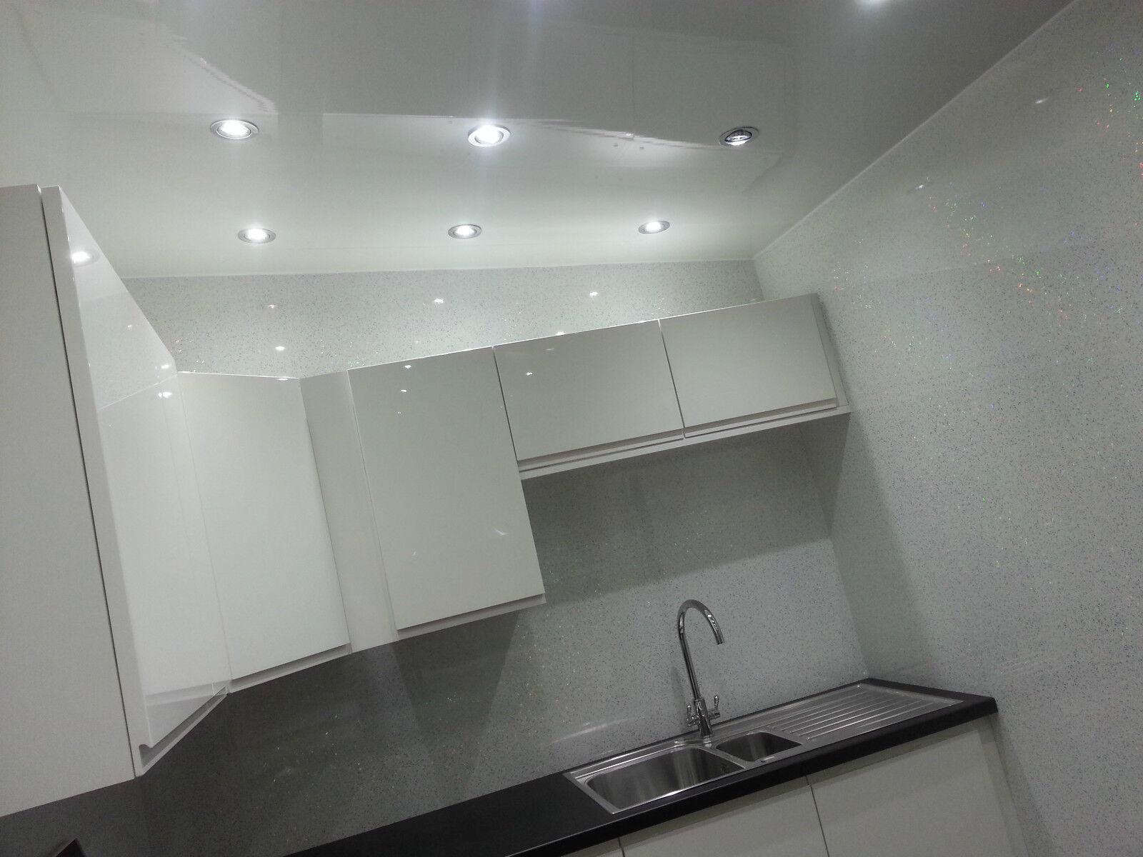 10 white gloss ceiling panels pvc gloss white plain. Black Bedroom Furniture Sets. Home Design Ideas