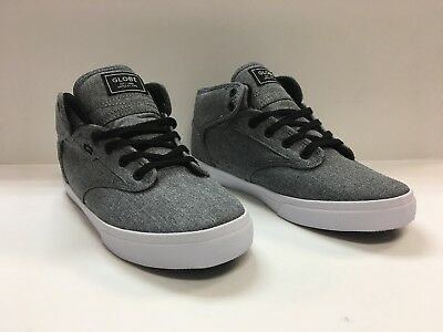 311a4c20d1 GLOBE Motley Mid Black Chambray White Men s Skate Shoes.