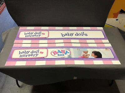 Used, (2) Baby Born Interactive Baby Doll TOYS R US STORE DISPLAY SIGN 2 SIDED 48X12 for sale  Milford
