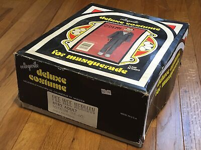 Vintage Pee Wee Herman Costume Adult Medium Collegeville 1987 Mask Outfit in Box