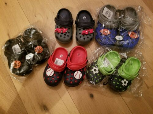 Boys toddler clogs slider beach sandals with strap - sports themes sizes 5-10