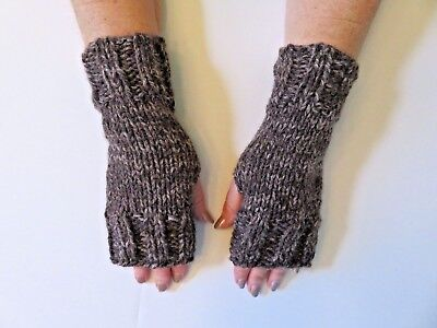 Heavyweight Knit Gloves - Hand Knit Fingerless Gloves- Wrist Warmers-Coffee Color Heavy Weight Mittens