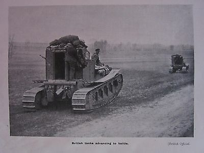 1918 WWI WW1 PRINT ~ BRITISH TANKS ADVANCING TO BATTLE
