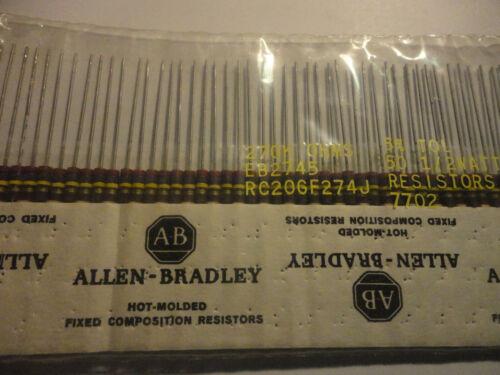 50PCS ALLEN BRADLEY 270K-1/2W-5% RC20GF274J CARBON COMP. RESISTOR