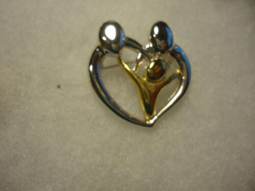 Danecraft vtg/nos silver/gold tone Family in Hearty pin
